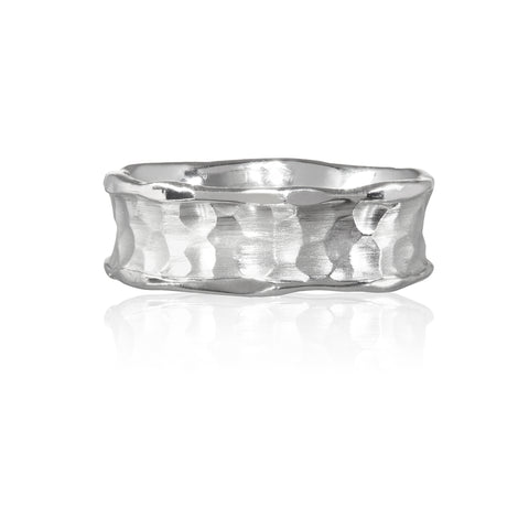 Flint Plain Medium Width Ring 9ct White Gold