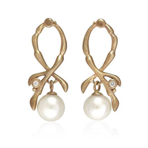 Reed Cross-over Pearl Drop Earrings 9ct Yellow Gold