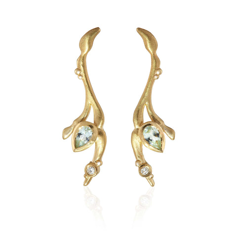 Reed Branch Bud Earrings 9ct Yellow Gold