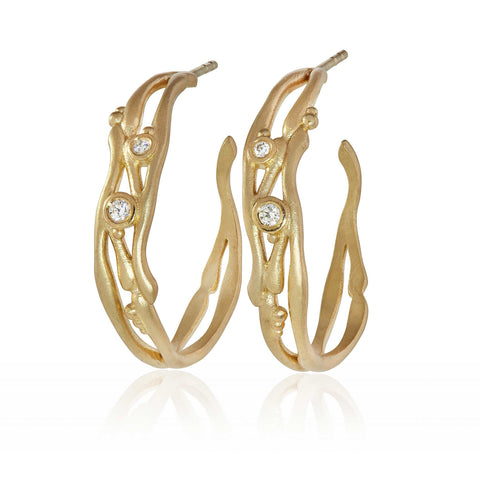 Reed Multi Strand Hoop Earrings 9ct Gold