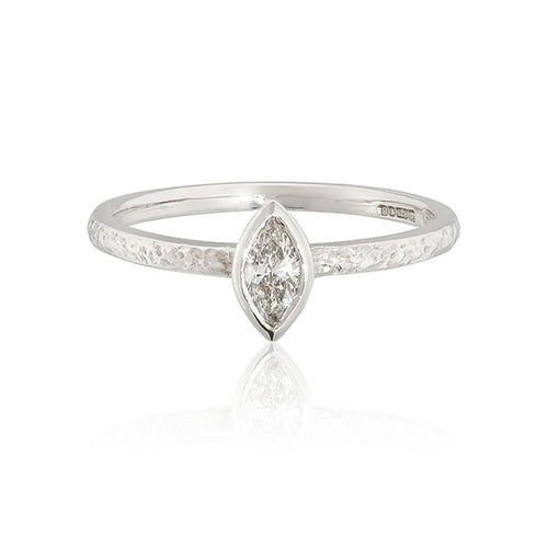 White Gold  and Diamond Bark Marquis Solitaire Ring