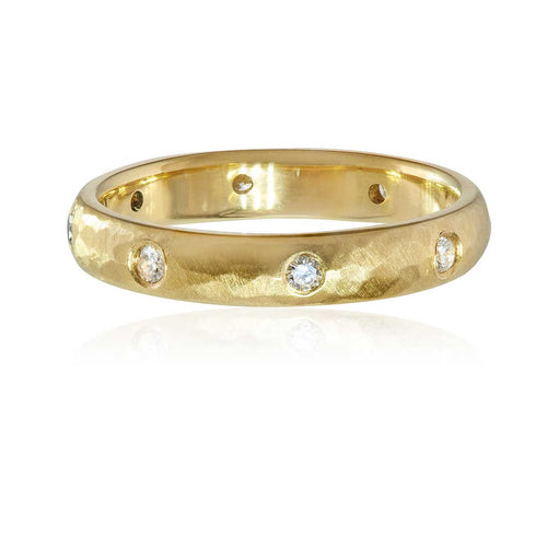 Yellow Gold and Diamond Hammered Eternity Ring