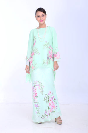 Ayu - Flared Kurung - Mint Green