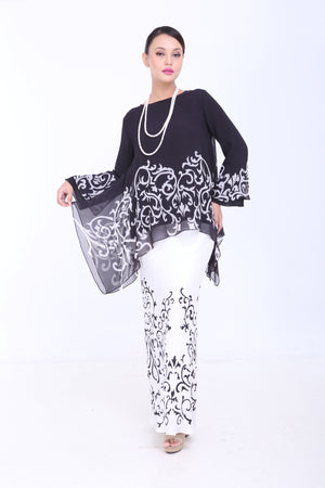 Dewi - Flared Kurung - Black and White