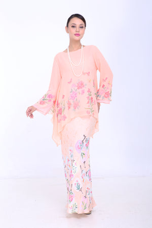 Cempaka - Flared Kurung - Peach