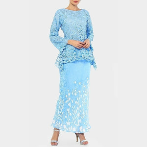 Zarina - Flared Kurung - Cornflower Blue