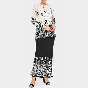 Serena - Modern Kurung - Black and White