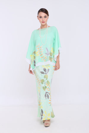 Alia - Double Layered Kaftan Kurung - Mint Green