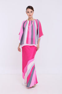 Alia - Double Layered Kaftan Kurung - Pink & Grey