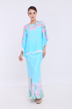 Alia - Double Layered Kaftan Kurung - Turquoise Blue