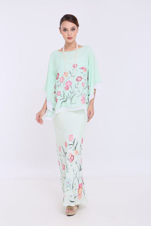 Alia - Double Layered Kaftan Kurung - Baby Mint