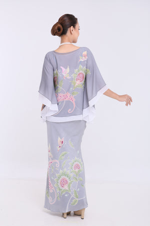 Alia - Double Layered Kaftan Kurung - Grey