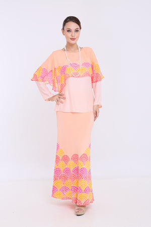 Ameera - Cape Kurung - Light Orange