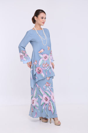 Ciara - Flared Kurung - Dusty Blue