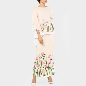 Alana - Double Layered Kaftan Kurung - Cream