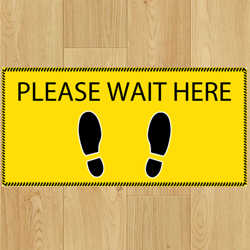 COVID-19 - Please Wait Here x 5 - Size 300 x 150mm