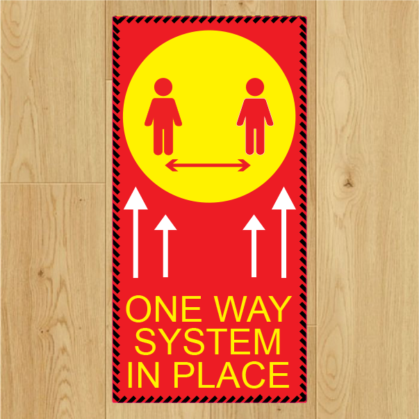 COVID-19 - One Way System Floor Sticker x 5