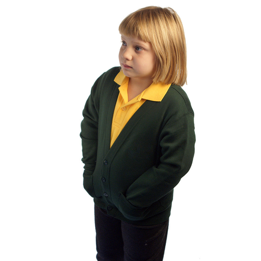 Cardigan in Bottle Green with School Badge