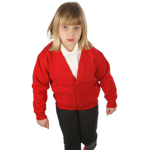 Cardigan in Red with School Badge