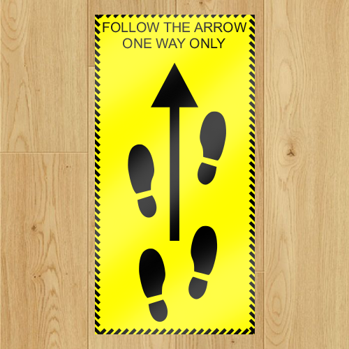 COVID-19 - One Way Floor Stickers x 5