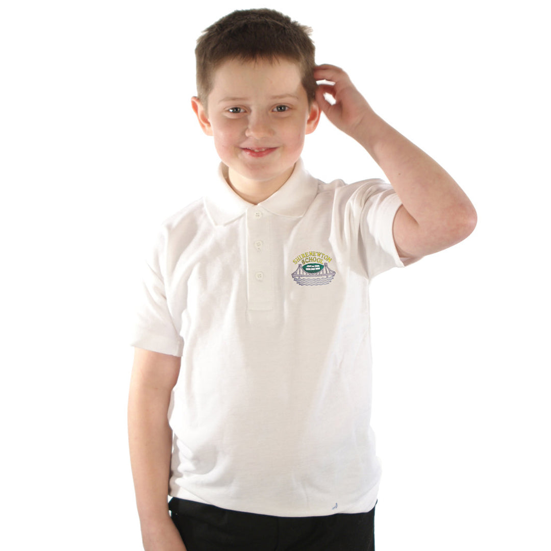 Shirenewton School Polo Shirt White or Blue