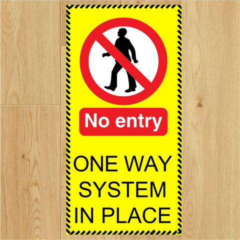 COVID-19 - No Entry Direction 250 x 500mm Floor Stickers x 5