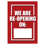 COVID-19 - A3 Window Sticker - Reopen Date
