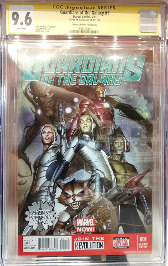 CGC GRADED 9.6 GUARDIANS OF THE GALAXY #1 LIMITED EDITION COMIX VARIANT SIGNED BY ADI GRANOV