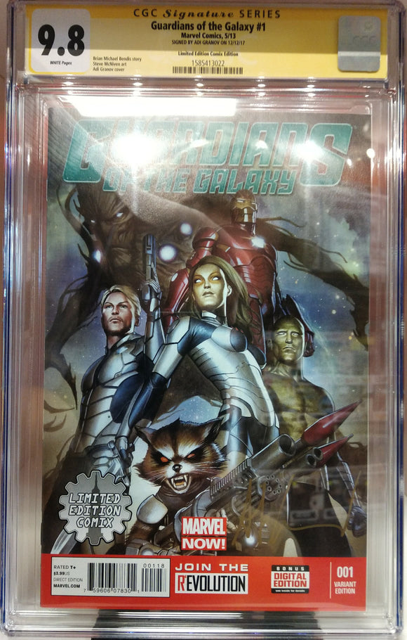 CGC GRADED 9.8 GUARDIANS OF THE GALAXY #1 LIMITED EDITION COMIX VARIANT SIGNED BY ADI GRANOV
