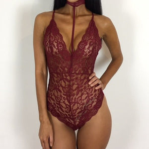 Sexy Chocker Halter Neck Lace Transparent Bodysuit