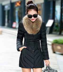 Down Cotton Winter Jacket with detachable large artificial fur collar