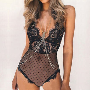 Sexy Lace Deep V-Neck Transparent Bodysuit