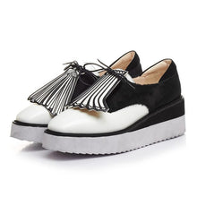 Pot Tassel Shells Mixed Color Horsehair Lace Up Square Toe Platform Shoes