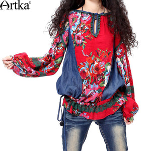 Patchwork Lace Trimmed Bohemian Blouse