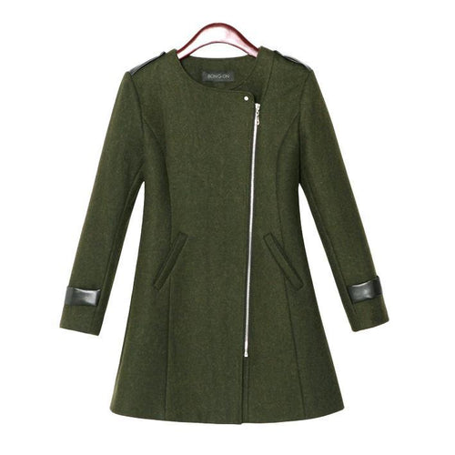 Army Green Contrast Leather Trims Zipper Woolen Blends Coat
