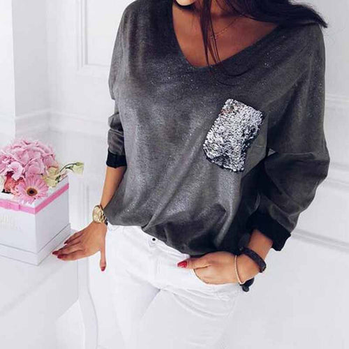 Sequin Pocket Velour Shirt