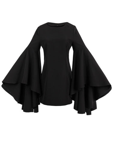 Black Bell Sleeve Women's Sheath Shirt