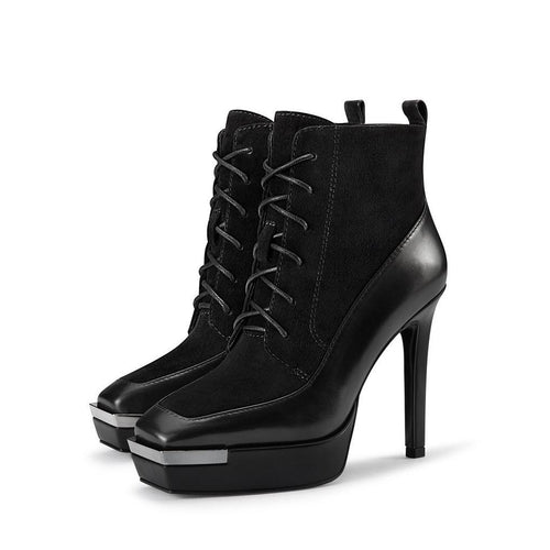 Genuine Leather Square Head Platform High-Heeled Ankle Boots