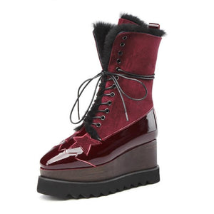 Genuine Leather Lace Up Two Tone Wedge Boots