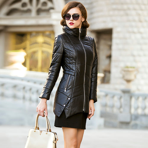 Real Sheep Leather Long Coat with Warm High Stand Collar