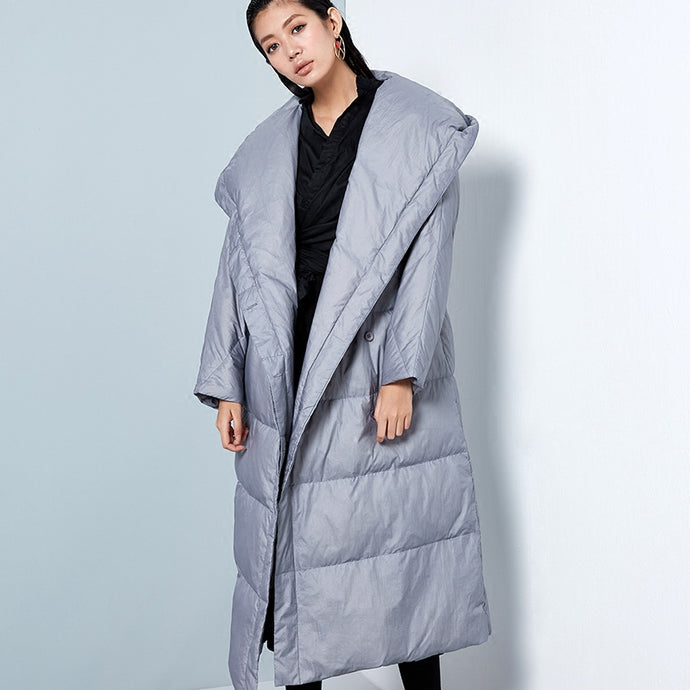 Hooded White Duck Down Coat
