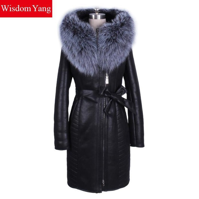 Real Fox Fur Hooded Zipper Pocket Coat
