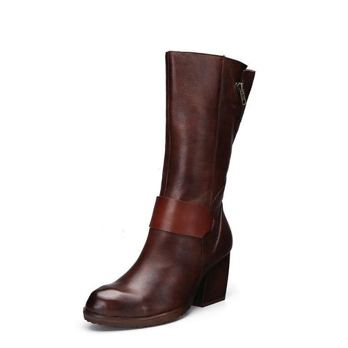 Genuine Leather Pointed Toe Chunky Heels Riding Boots