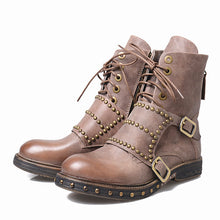 Martin Boots Rivet Studded Flat Ankle Boots