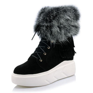 Genuine Leather Fur Wedges Boot