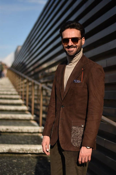 Giorgio Giangiulio wearing our Prosecco Plum pocket square