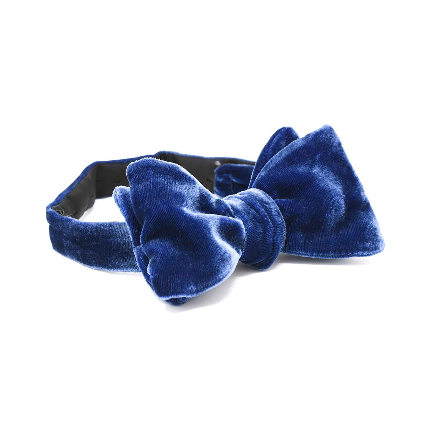 Royal Blue Velvet Bow Tie - serafinesilk