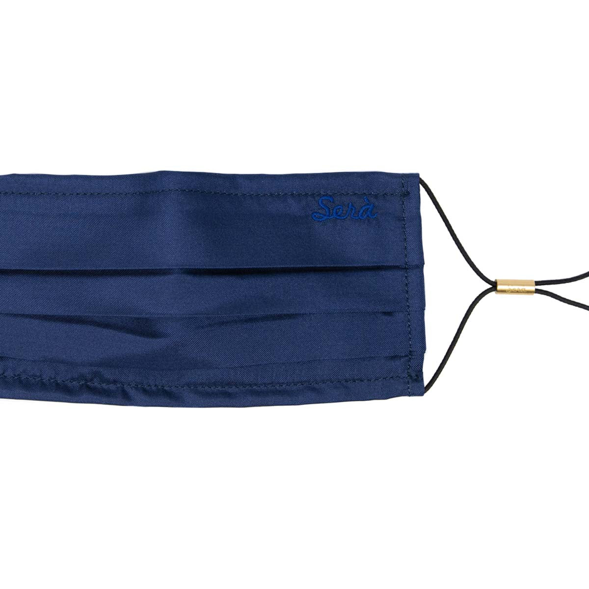 Navy Blue Silk face cover with pocket