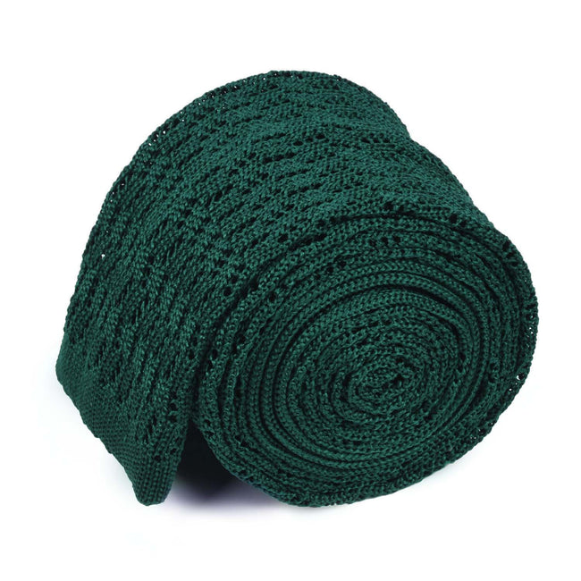 KNITTED ZIG ZAG FOREST GREEN TIE