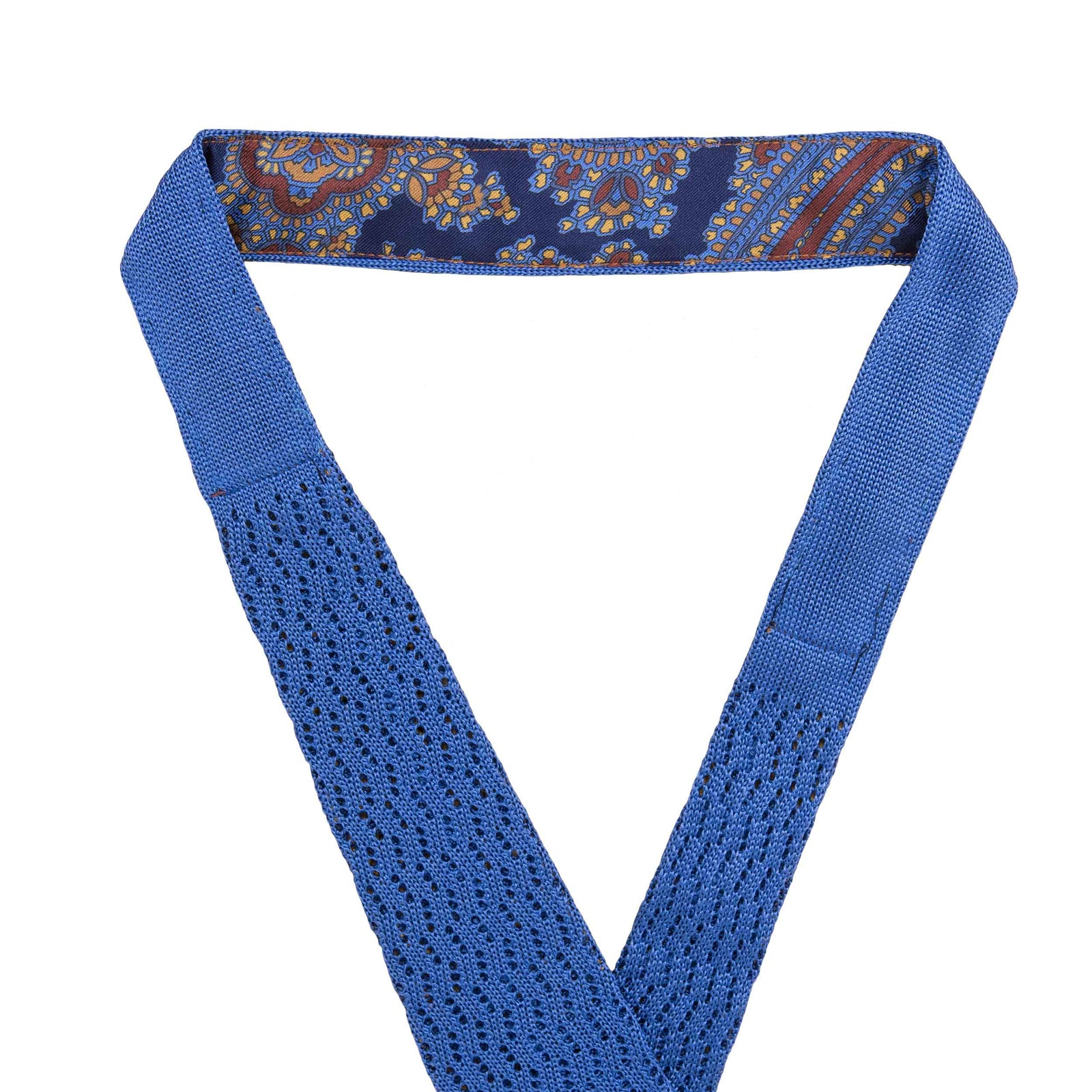 Light Blue Zig Zag V Point Knitted Tie - serafinesilk